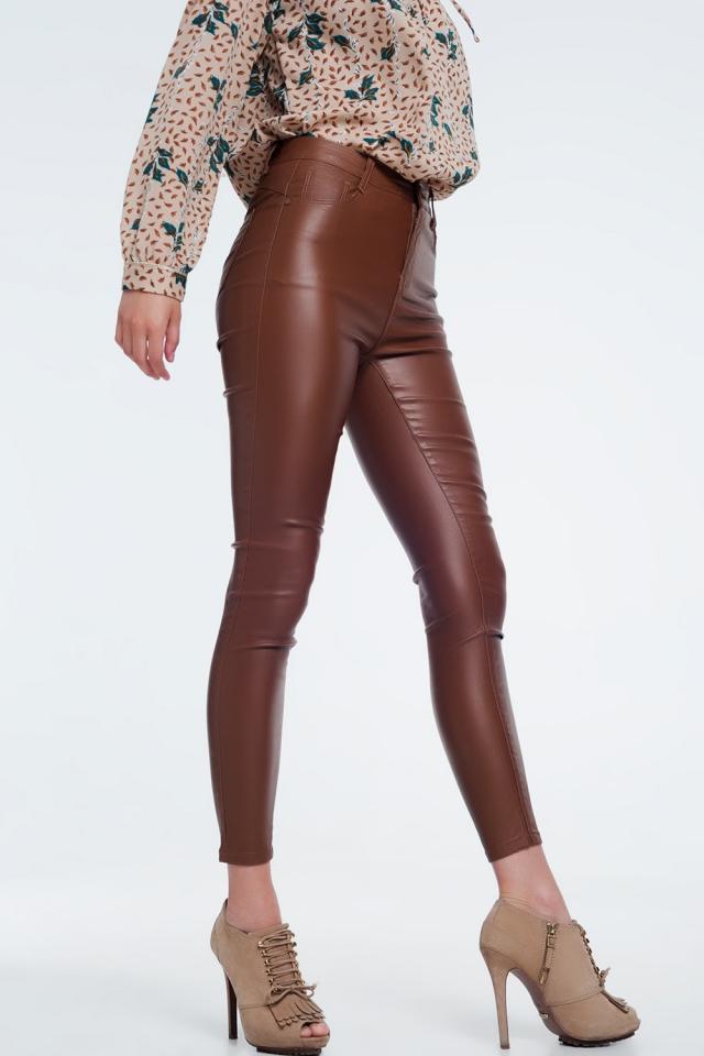 Pantaloni skinny a vita alta marrone