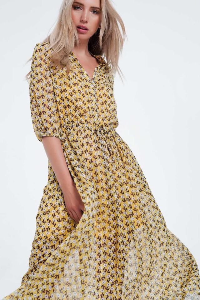 Vestito lungo giallo a maniche lunghe a fiori