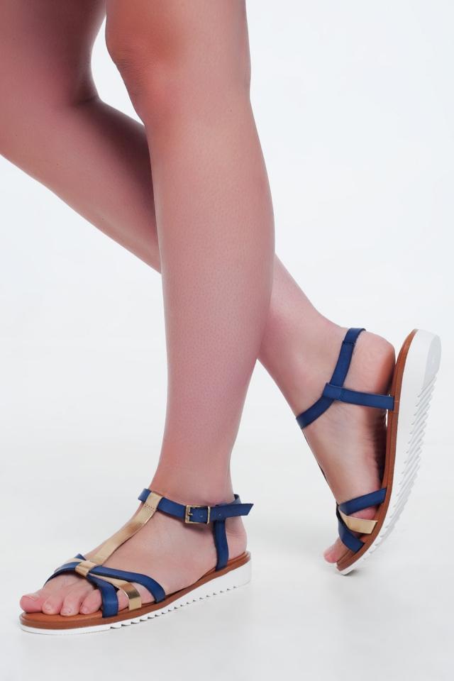Sandali con zeppa colorati oro e blu