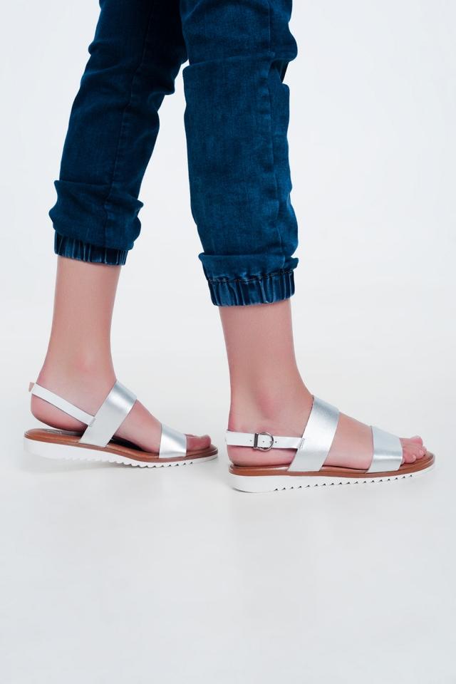 Sandali bassi in pelle argento