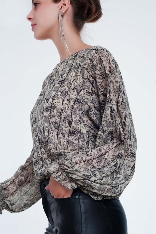 Camicia a maniche lunghe beige con stampa cachemire
