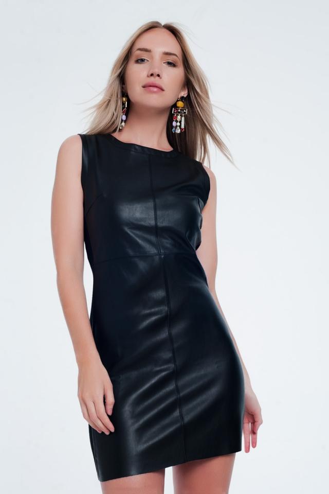 Vestito nero in pelle sintetica mista