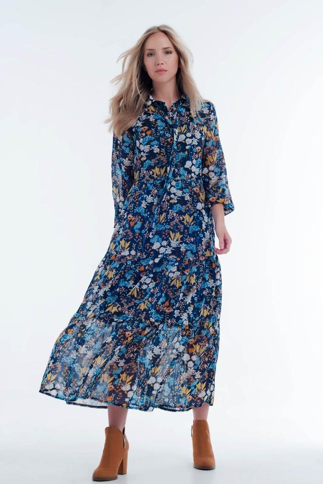 Vestito camicia midi blu a strati trasparenti con stampa a fiori
