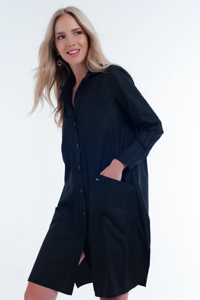 Vestito camicia midi multitasche in nero
