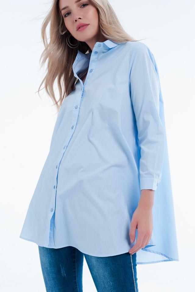 Basic blu Longline Shirtdress