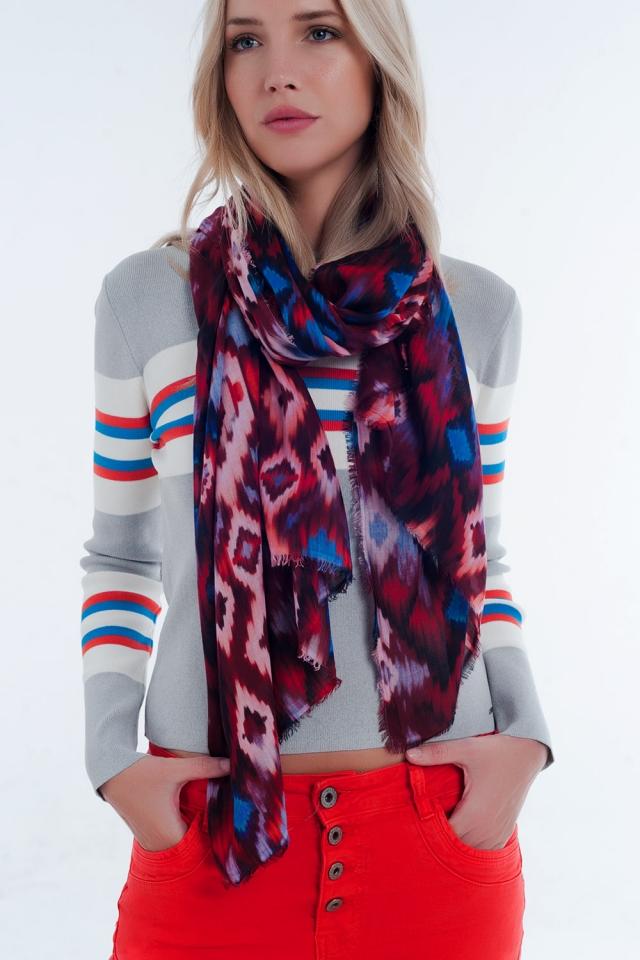 sciarpa con stampa tintura rosso