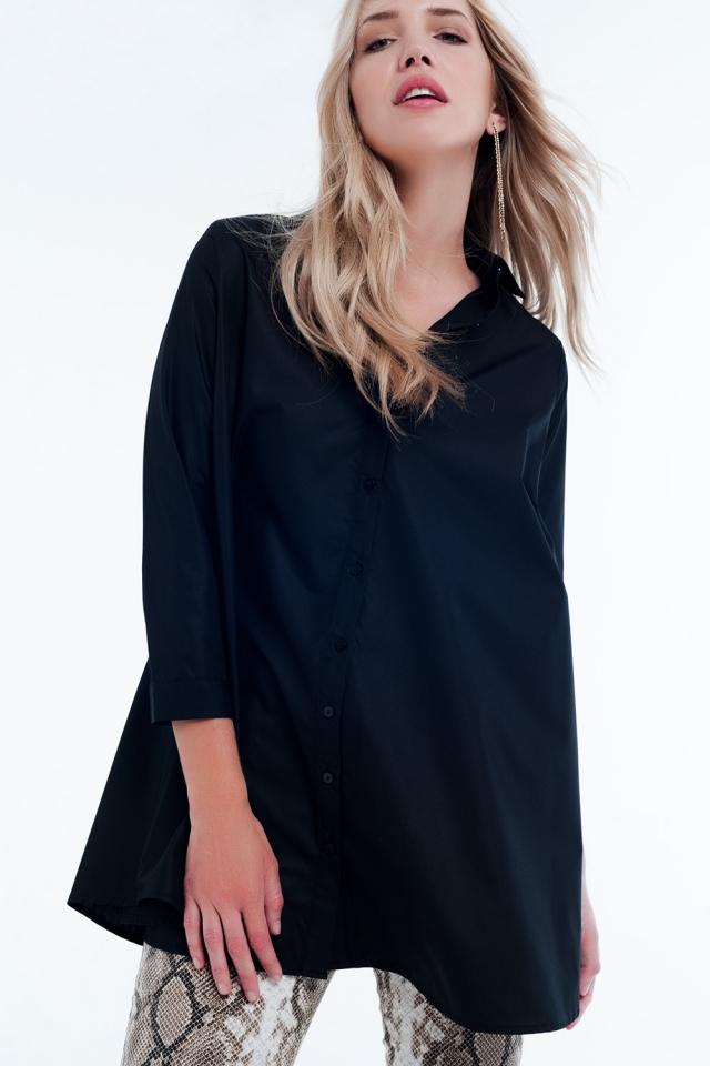 camicia nera basica lunga