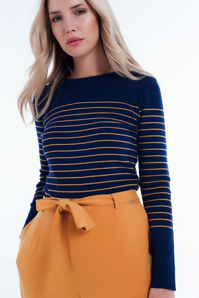Maglione blu marino con collo rotondo à righe