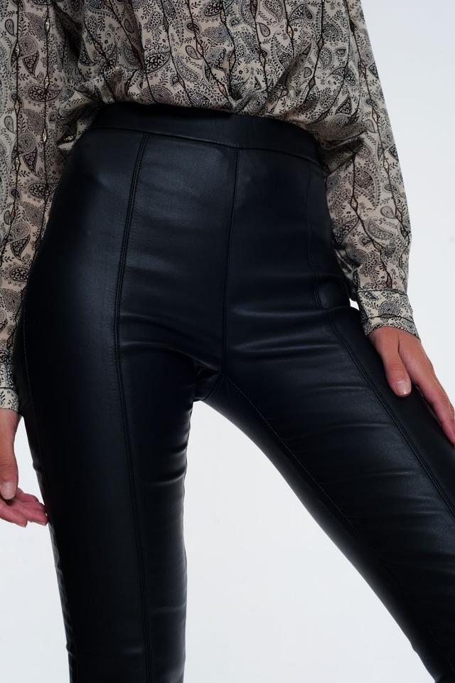 Leggings in pelle sintetica con fascia elasticizzata in vita super skinny