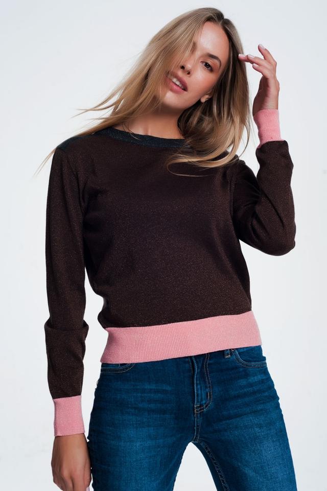 Maglione marrone con righe rosa