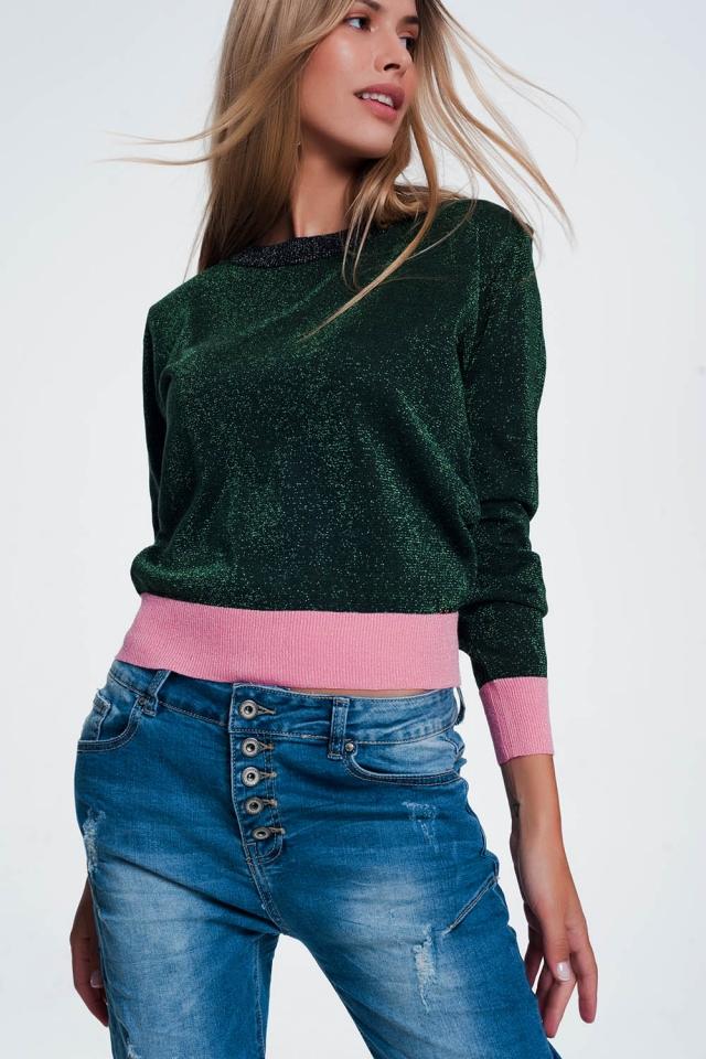 Maglione verde con righe rosa