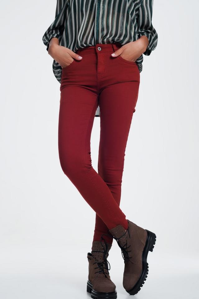 Jeans skinny color granato