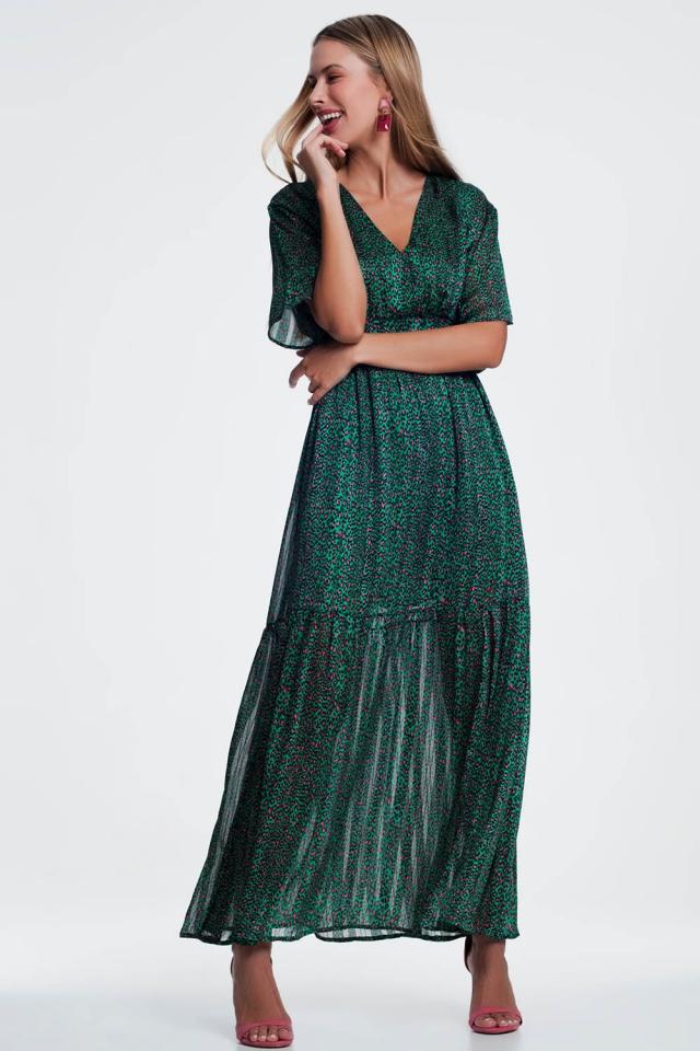 Vestito lungo verde a strati stampato