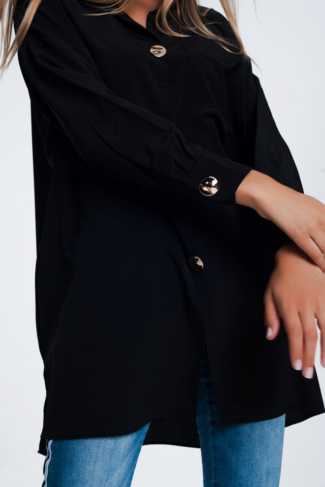 Camicia oversize a maniche lunghe con bottoni in nero
