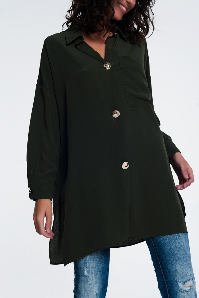Camicia oversize a maniche lunghe con bottoni in Khaki