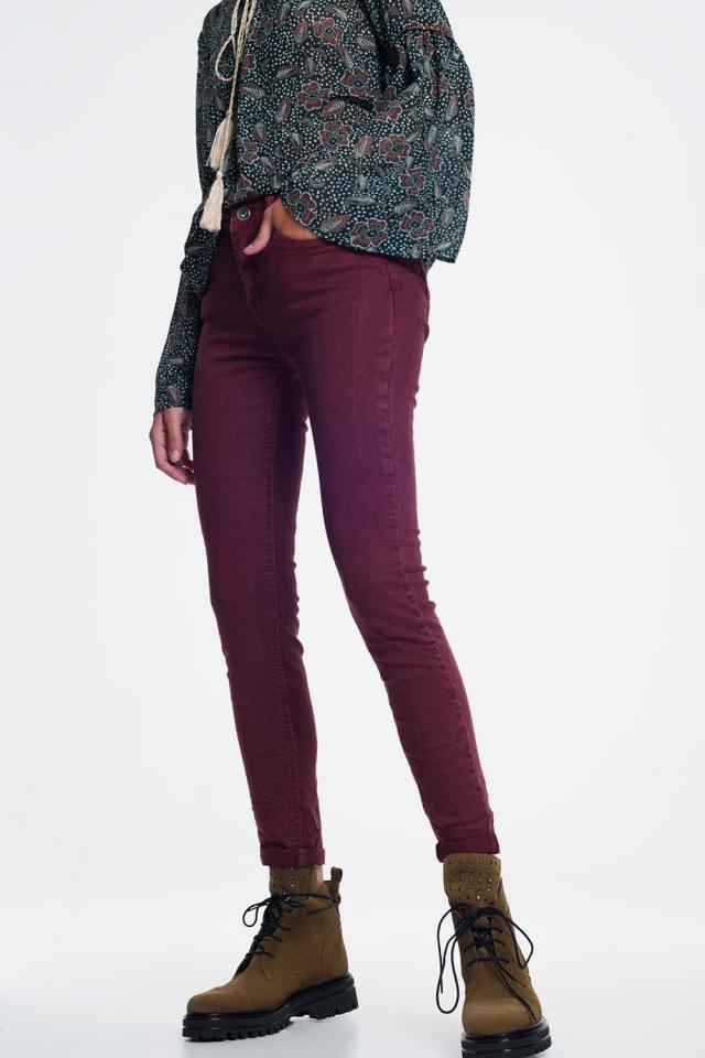 Jeans marrone vita alta