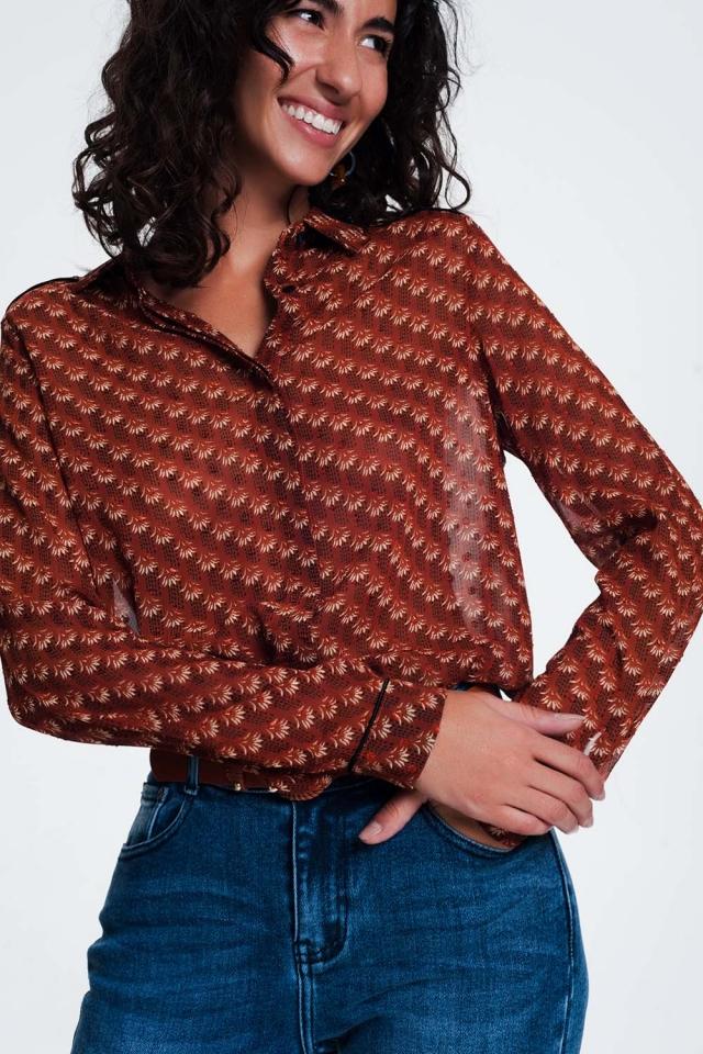 Camicia cammello fantasia trasparente con vestibilità classica