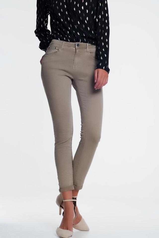 Jeans beige a vita alta