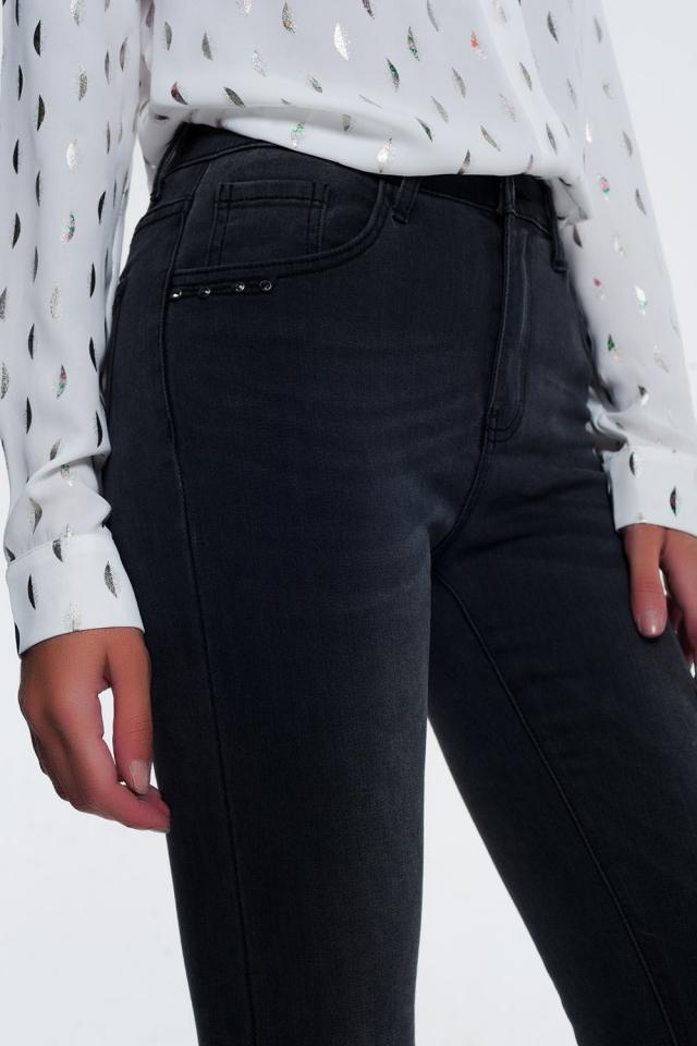 Jeans skinny nero slavato