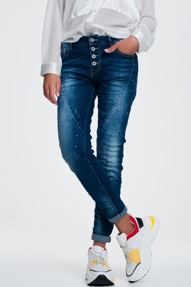 Jeans indaco mélange slavato con bottoni