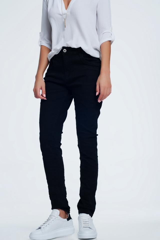 jeans skinny neri con cavallo basso