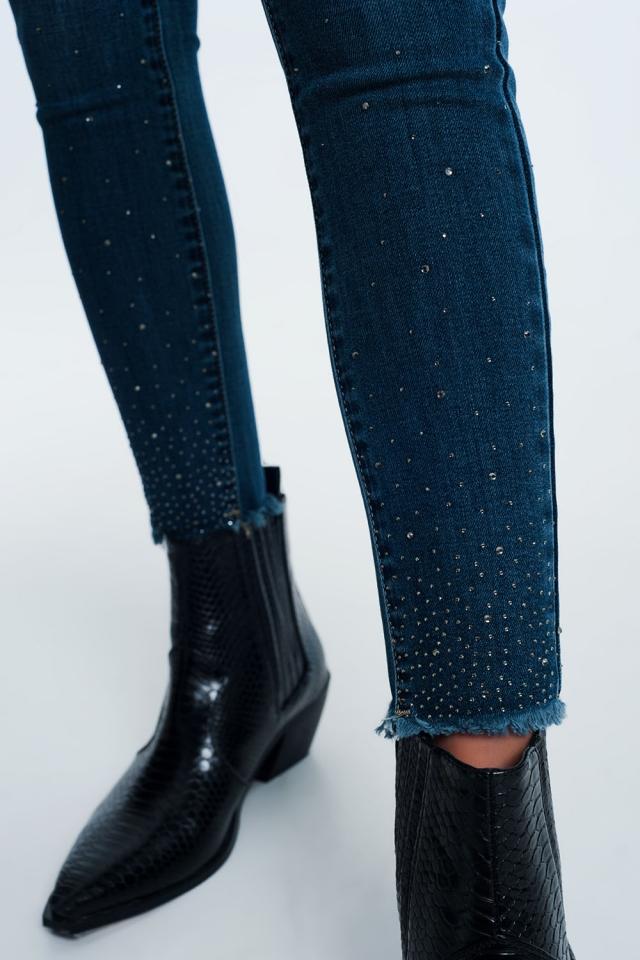 Jeans vita alta slim con strass