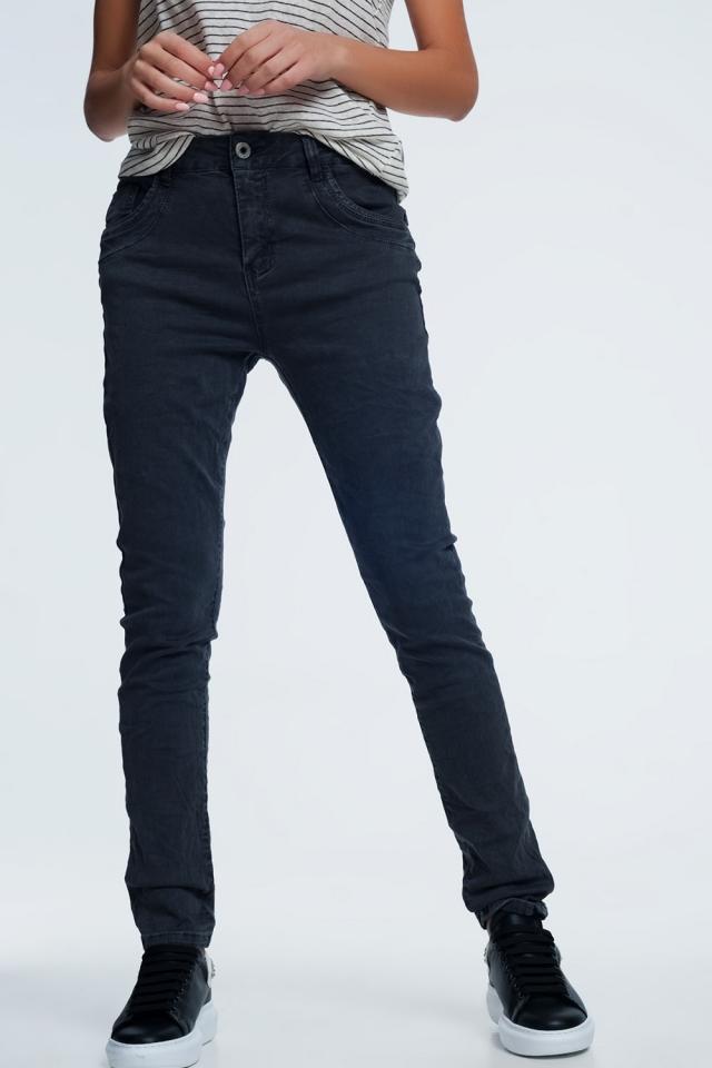 jeans skinny grigio con cavallo basso
