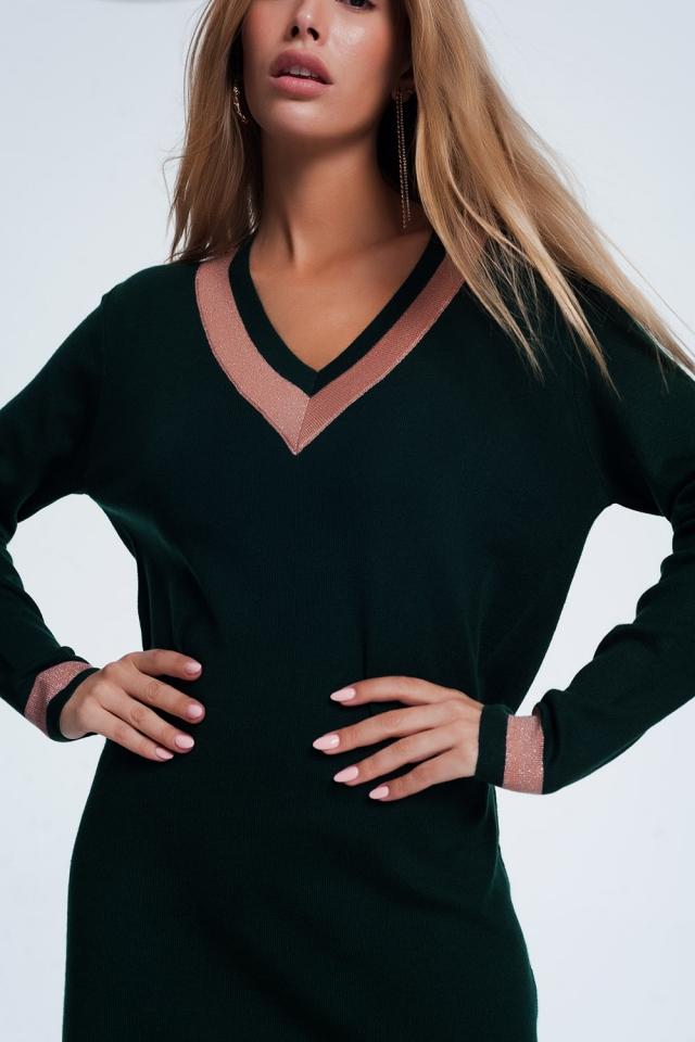 Mini abito verde con strisce rosa