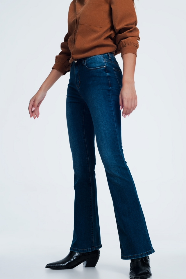 Jeans skinny svasati blu navy