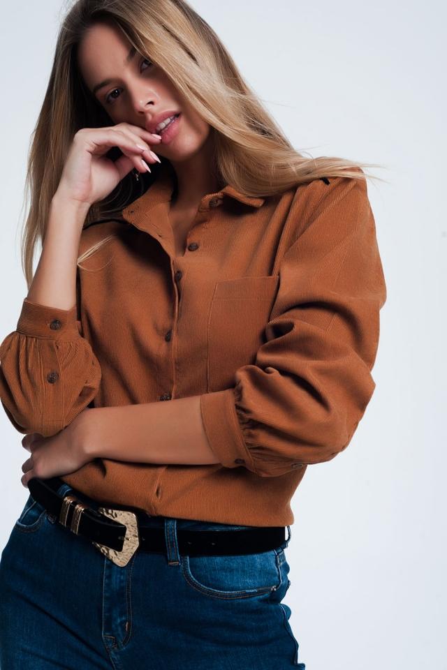 Camicia in tessuto a coste marrone
