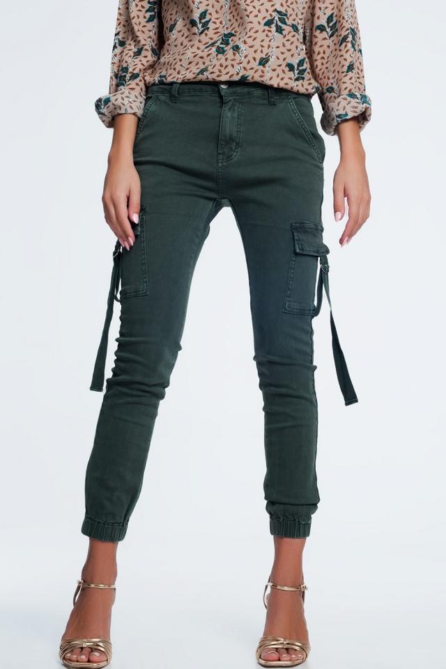 Pantaloni cargo slim kaki