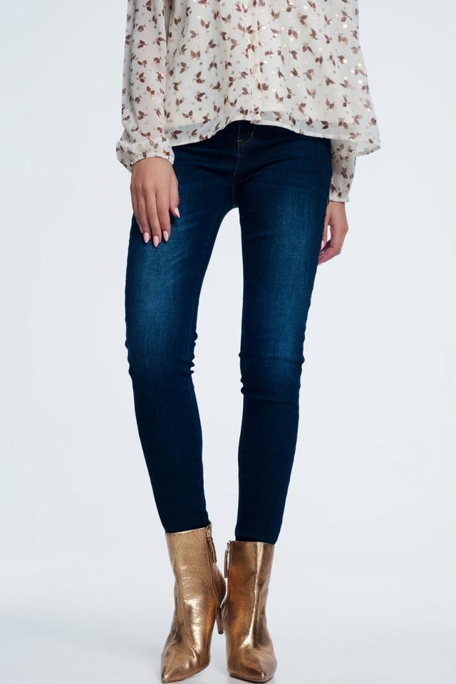 Jeans con dettagli laterali dorati