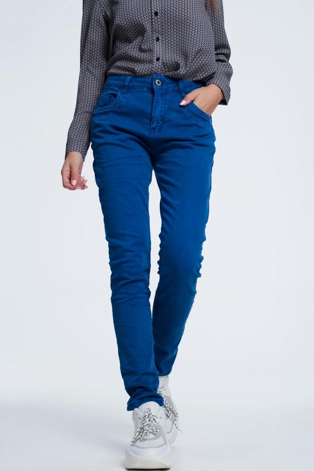 Jeans skinny blu con cavallo basso