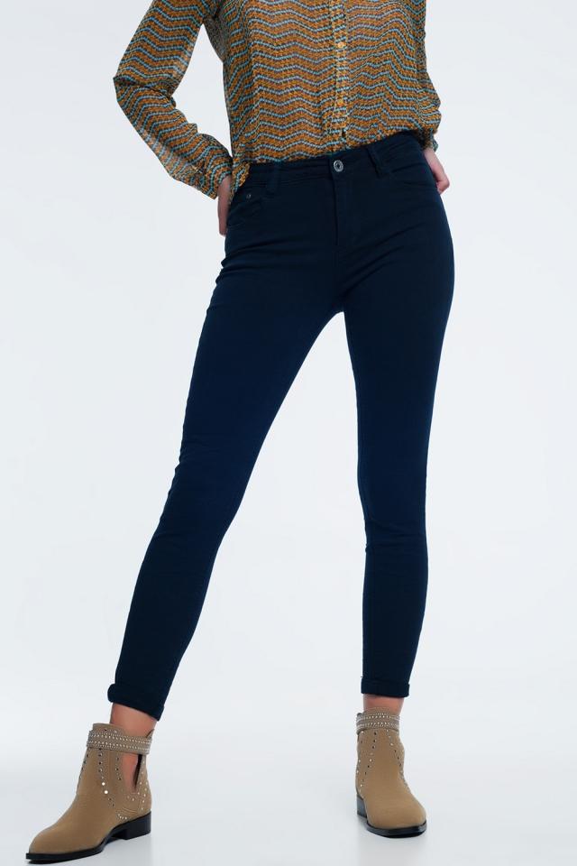 Jeans blu marino vita alta