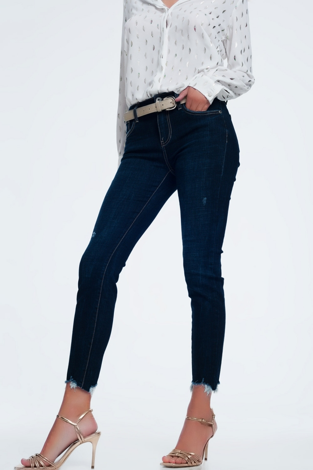 Jeans vita medio alta lavaggio blu acceso con fondo grezzo