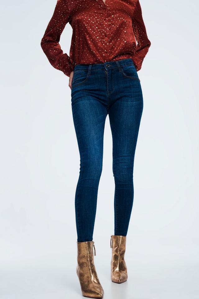 Jeans skinny modellanti blu scuro
