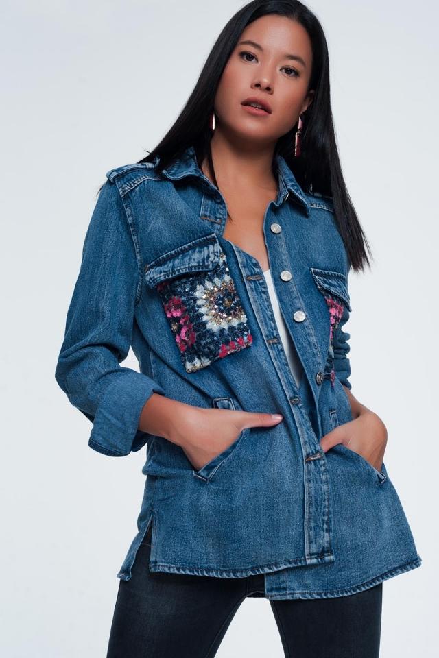 Giacca di jeans oversize con pannelli in paillettes