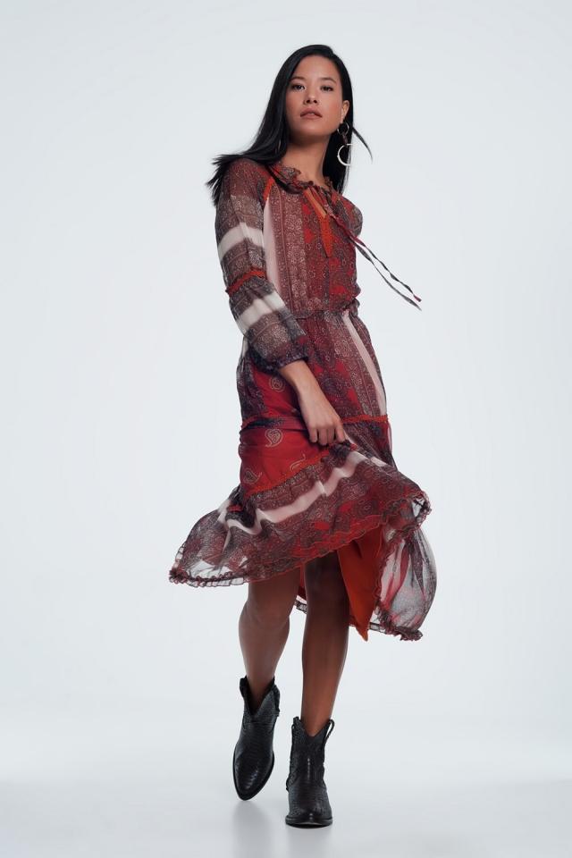 Vestito lungo in tessuto trasparente con stampa cachemire floreale