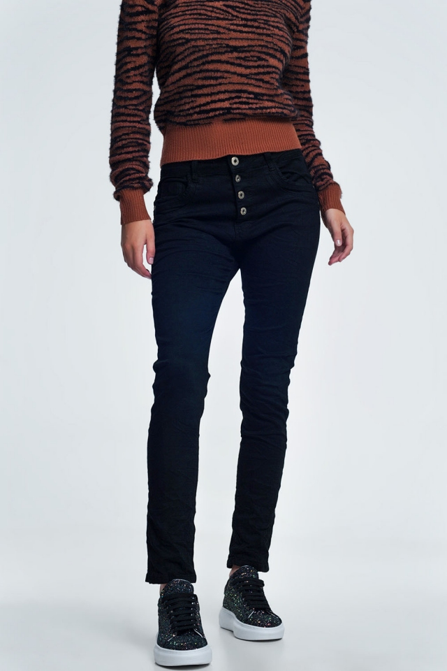 Jeans relaxed a 4 bottoni neri