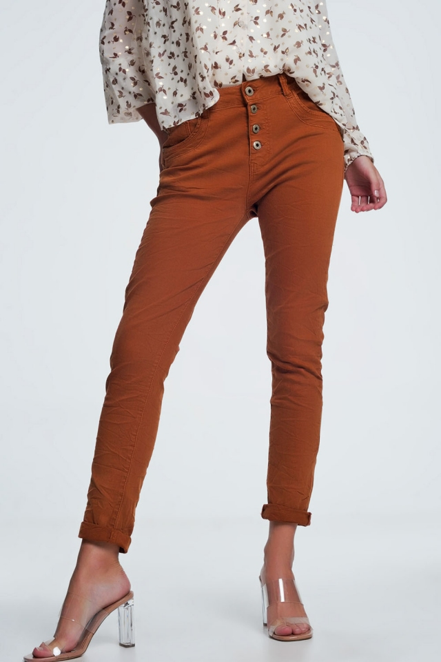 Jeans relaxed a 4 bottoni arancione