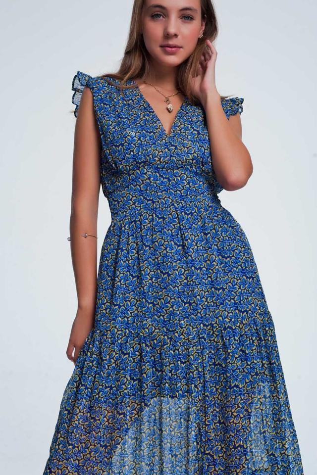 Vestito lungo blu a balze a fiori