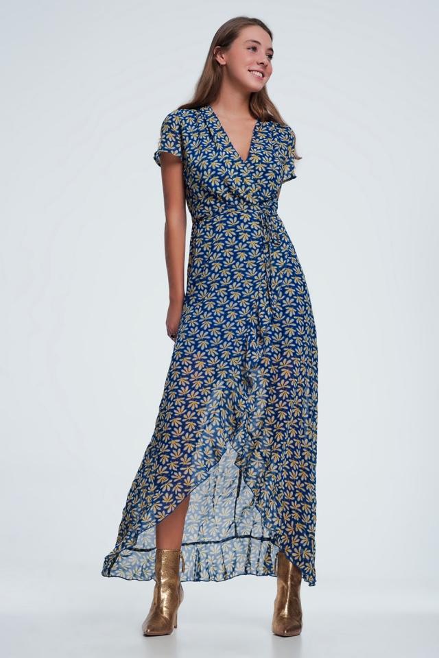 vestito midi Blu a portafoglio con stampa a fiori e volant