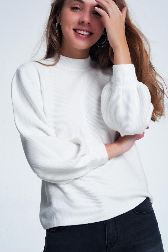 Maglione girocollo bianco sporco