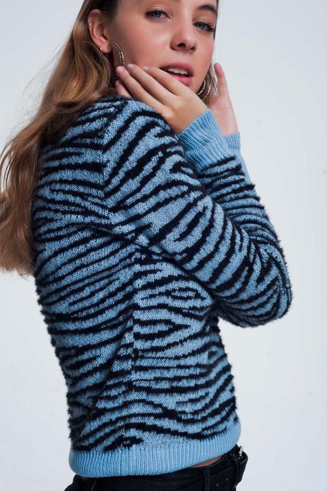 Felpa blu con stampa tigre animale all over