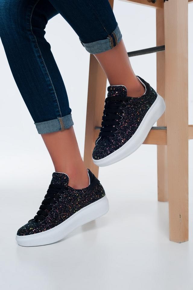 Sneakers nere con paillettes