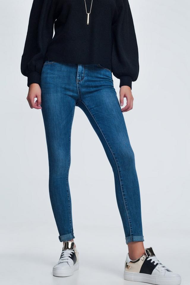 Jeans skinny blu con lavaggio chiaro
