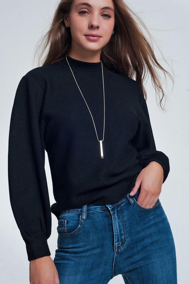Maglione girocollo nero sporco