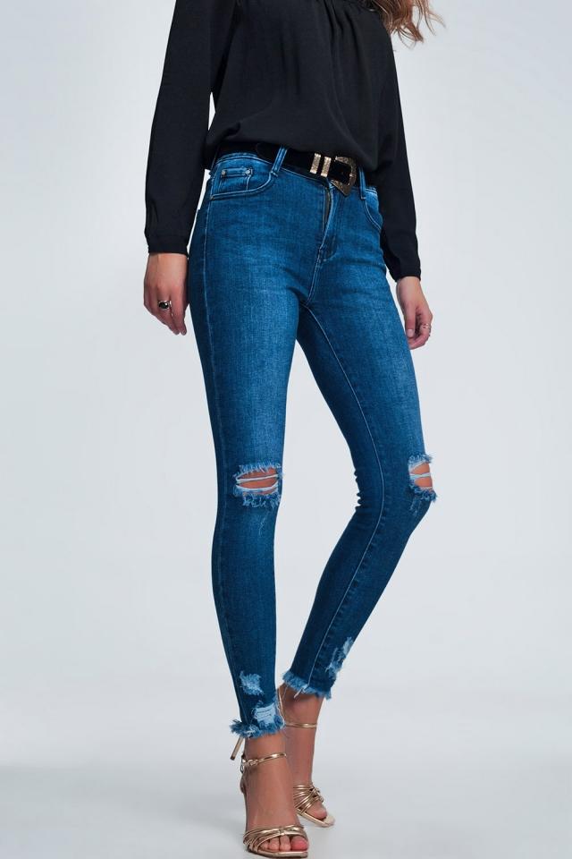 Jeans skinny a vita alta con frange