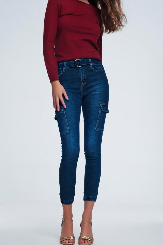 Pantaloni cargo in denim blu