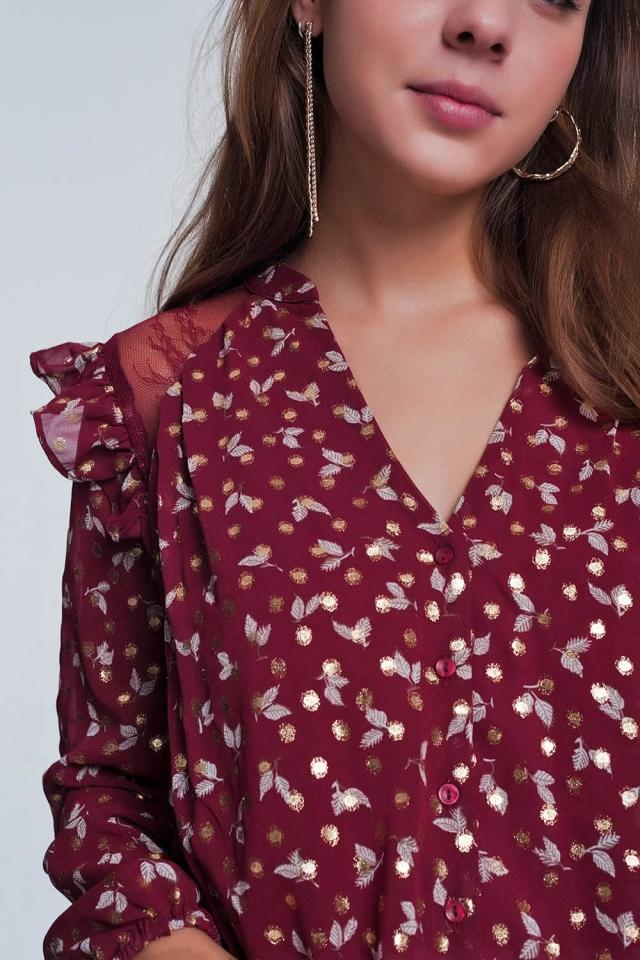 Camicia rossiccio stampata con volant sulle spalle